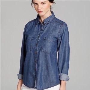 Eileen Fisher Dark Wash Denim Button Down Shirt
